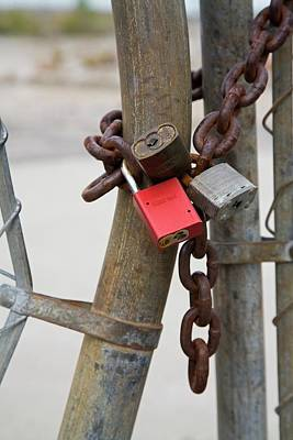 Factory Photograph - Chained And Padlocked Gate by Jim West