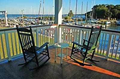 Digital Art - 2 Chairs On The Fairhope Yacht Club Porch by Michael Thomas