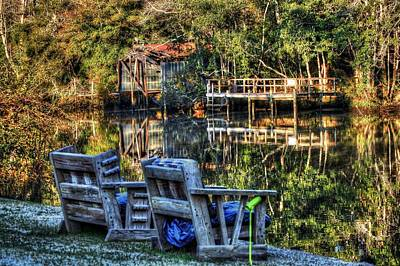 2 Chairs On The Magnolia River Art Print