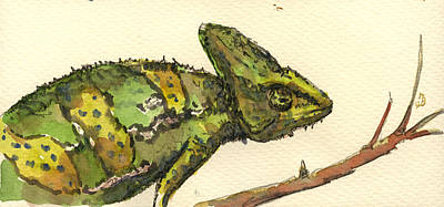 Reptile Painting - Chameleon by Juan  Bosco