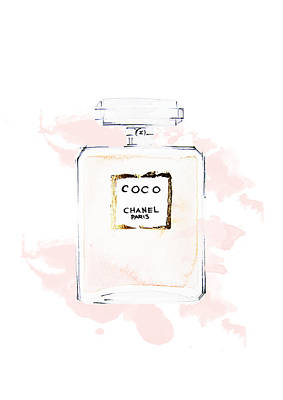 Chanel Wall Art - Painting - Chanel Perfume, Watercolor Fashion Illustration  by Koma Art