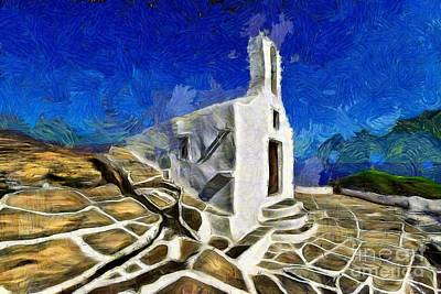 Painting - Chapel In Ios Island by George Atsametakis