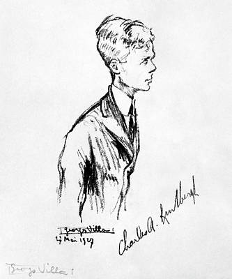 Aviator Drawing - Charles Lindbergh (1902-1974) by Granger