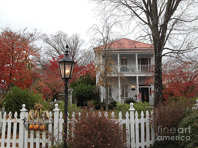 Charleston Historical Victorian Mansion - Charleston Autumn Fall Trees And White Picket Fence Art Print by Kathy Fornal