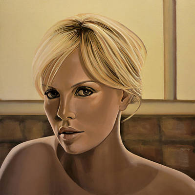 Charlize Theron Painting Print by Paul Meijering