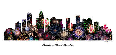 Charlotte North Carolina Fireworks Skyline Art Print by Gregory Murray