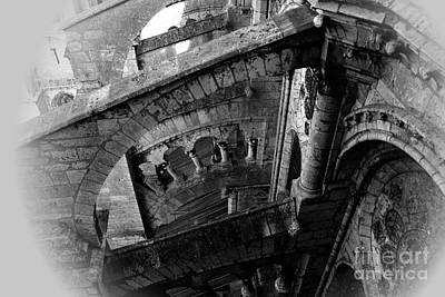 Photograph - Chartres Cathedral Ascent - Black/white by Jacqueline M Lewis