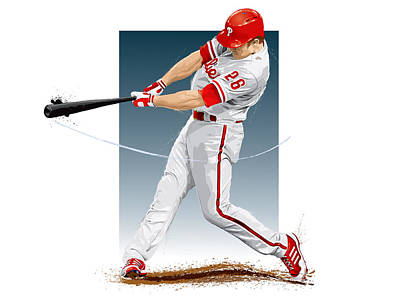 Baseball Digital Art - Chase Utley by Scott Weigner