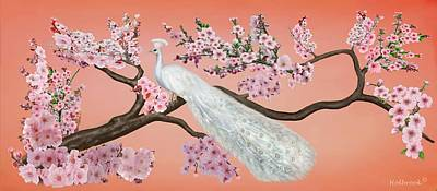 Cherry Blossom Peacock Art Print