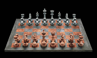 Chess Game Photograph - Chess Board And Pieces by Ktsdesign