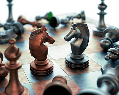 Chess Pieces On Chess Board Art Print