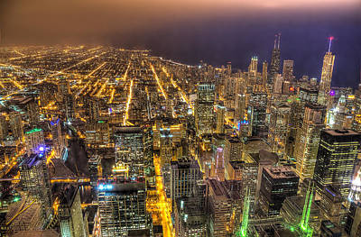 Photograph - Chicago Skyline At Night - Hancock And Trump by Michael  Bennett