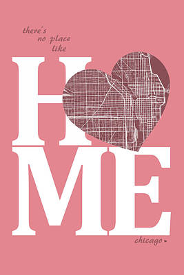 Love Digital Art - Chicago Street Map Home Heart - Chicago Illinois Road Map In A H by Jurq Studio