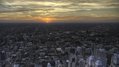 Illinois Photograph - Chicago Sunset by Calvin Jennings