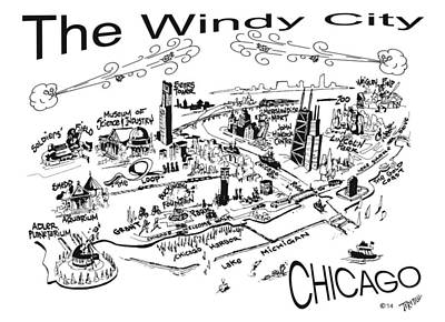 Wrigley Field Drawing - Chicago's Points Of Interest by Robert Tiritilli
