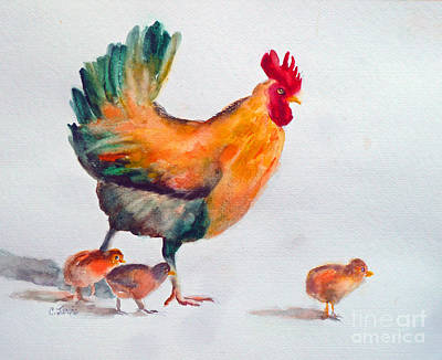 Painting - Chicken Family by Carolyn Jarvis