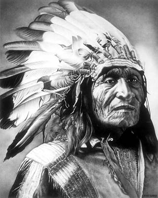 Indian Chief Drawing - Chief by Jerry Winick