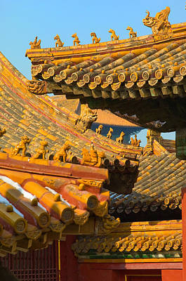 Yellow Photograph - China Forbidden City Roof Decoration by Sebastian Musial