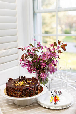 Table Setting Photograph - Chocolate Cake by Elena Elisseeva