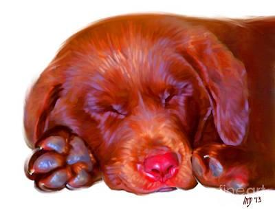 Buy Dog Art Digital Art - Chocolate Labrador Puppy by Iain McDonald