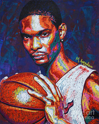 Big 3 Painting - Chris Bosh by Maria Arango