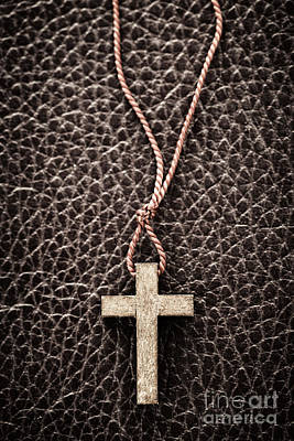 Study Photograph - Christian Cross On Bible by Elena Elisseeva