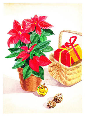 Poinsettias Painting - Christmas  by Irina Sztukowski