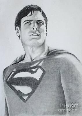 Super Hero Drawings Drawing - Christopher Reeves As Superman  by Caleb Goodman