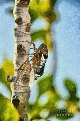 Painting - Cicada On Fig Tree by George Atsametakis