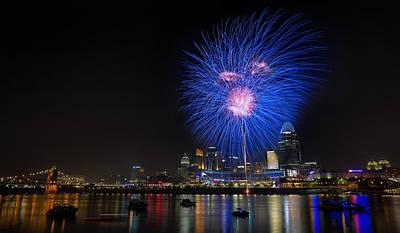 Photograph - Cincinnati Reds Fireworks  by Craig Bowman