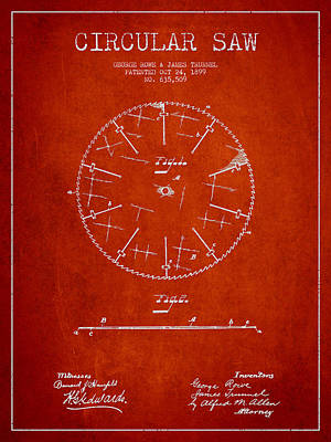 Woodwork Digital Art - Circular Saw Patent Drawing From 1899 by Aged Pixel
