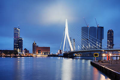 Maas Photograph - City Of Rotterdam At Night by Artur Bogacki