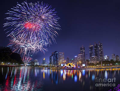 Fire Works Photograph - City Town At Night by Anek Suwannaphoom