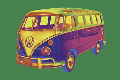 Kombi Digital Art - Classic Vw 21 Window Mini Bus by Keith Webber Jr