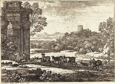 Troupeau Drawing - Claude Lorrain French, 1604-1605 - 1682 by Quint Lox