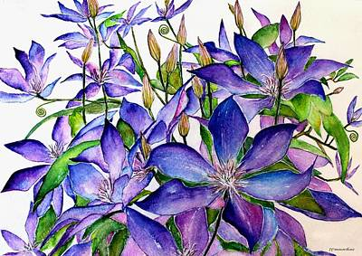 Painting - Clematis Climbing Vine by Janet Immordino