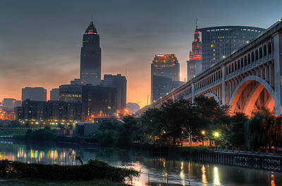River Photograph - Cleveland Skyline At Dawn by At Lands End Photography