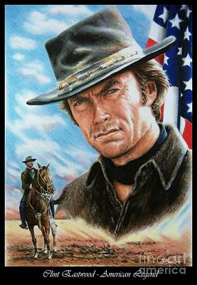 Land Of The Free Drawing - Clint Eastwood American Legend by Andrew Read
