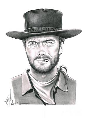 Clint Drawing - Clint Eastwood by Murphy Elliott