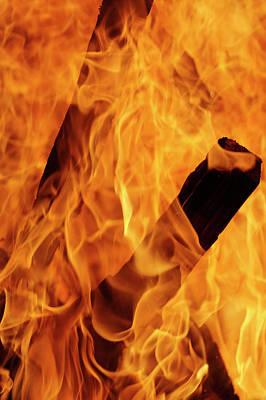 Fire Wood Photograph - Close-up Of Fire Flames, Jodhpur, India by Adam Jones