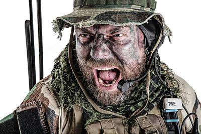 Photograph - Close-up Portrait Of A U.s. Commando by Oleg Zabielin