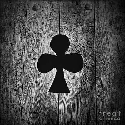 Clover Shape Cut Out Of Wooden Door Art Print by Bernard Jaubert