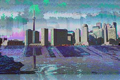 Mixed Media - Cn Tower Toronto View From Centre Island Downtown Panorama Improvised With Graphic Artist Tools Pain by Navin Joshi