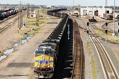 Train Tracks Photograph - Coal Train by Jim West