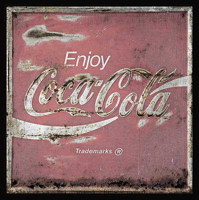 Old Coke Sign Wall Art - Photograph - Coca Cola Pink Grunge Sign by John Stephens