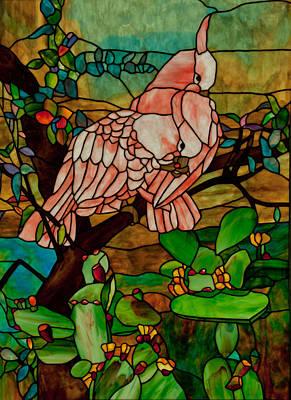 Uroboros Glass Glass Art - 2 Cockatoo's by David Kennedy