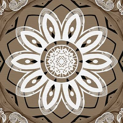 Digital Art - Coffee Flowers 8 Olive Ornate Medallion by Angelina Tamez