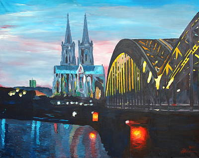 Cologne Cathedral With Hohenzollernbridge Art Print