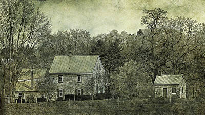 Colonial Farmhouse And Summer Kitchen Retro Style Art Print by John Stephens