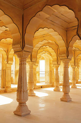 Repetition Photograph - Colonnaded Gallery, Amber Fort, Jaipur by Inger Hogstrom